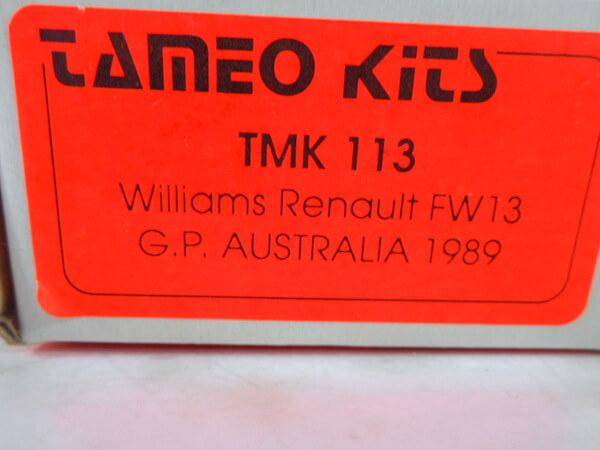 タメオ 1/43 【ウィリアムズルノー FW13 G.P オーストラリア `1989】#TMK113