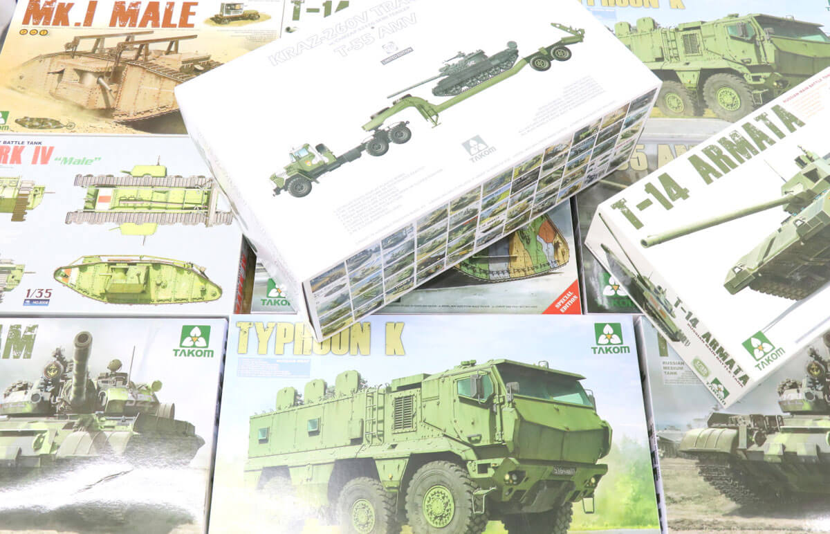 戦車をはじめ、軍用機プラモデルを多数制作しているTAKOM。TAKOMしかリリースしていない商品もあり、ある程度の難易度もあるプラもが多いので造る工程も楽しめるでしょう!