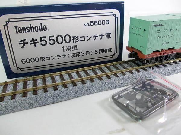 天賞堂 HO 58006 チキ5500形コンテナ車 1次型 淡緑3号